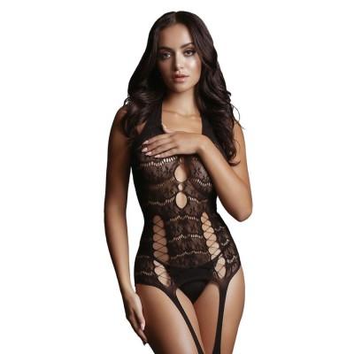 BODYSTOCKING Lace Suspender Bodystocking- Black - On