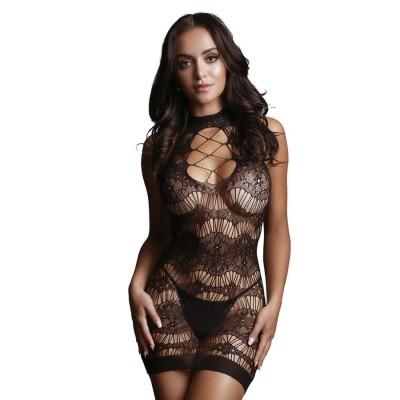 MINI ABITO SEXY Criss Cross Neck Mini Dress- Black - On