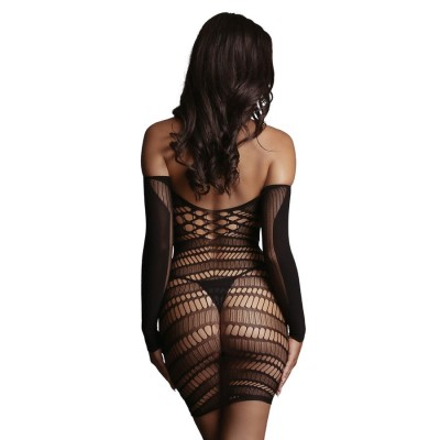 ABITO LUNGO SEXY Long Sleeved Mini Dress- Black - One Si