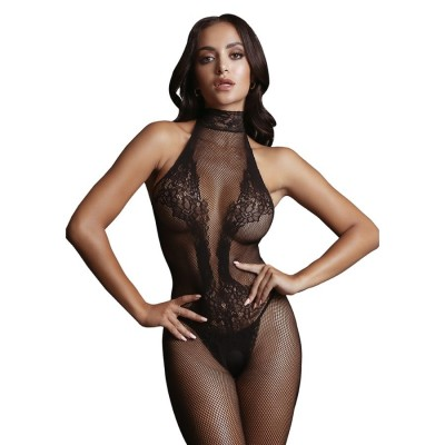 BODYSTOCKING 2 Fishnet and Lace Bodystocking- Black -