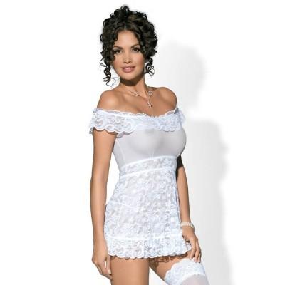 CAMICIA DA NOTTE SEXY E PERIZOMA Flores chemise & thong white L/XL