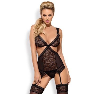 COMPLETO SEXY Swanita corset & thong black S/M