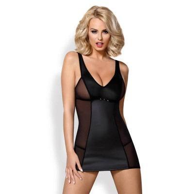 ABITO SEXY E PERIZOMA OBSESSIVE 823-DRE-1 dress & thong L/XL black