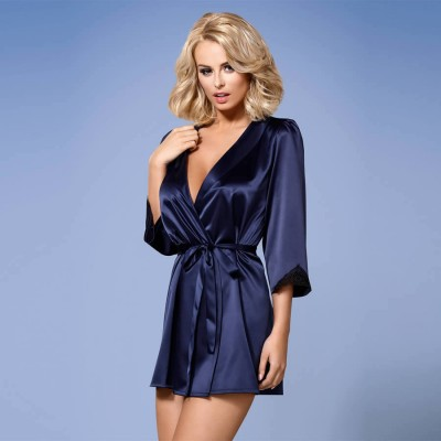 VESTAGLIA Satinia robe S/M navy blue