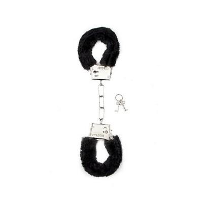 MANETTE VELLUTATE Furry Handcuffs - Black